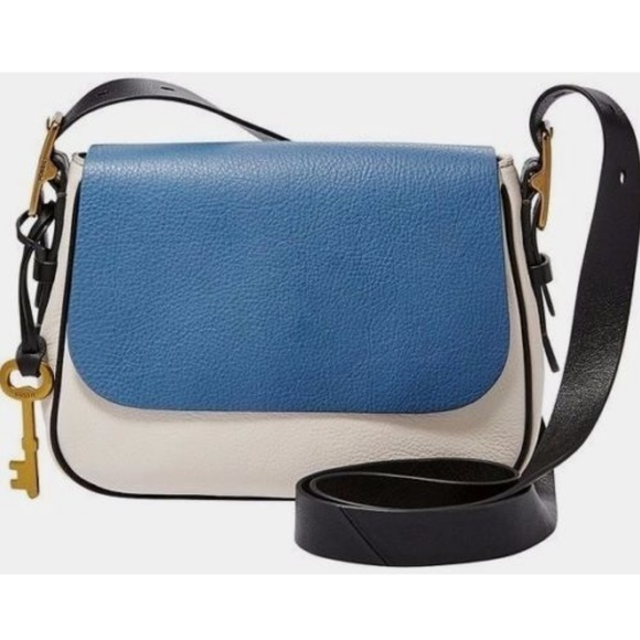 247896776506 Fossil Harper Blue White Leather Crossbody NWT